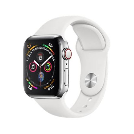 Apple?Watch Series 4 GPS+LTE 40mm Stainless Steel Case White Sport Band