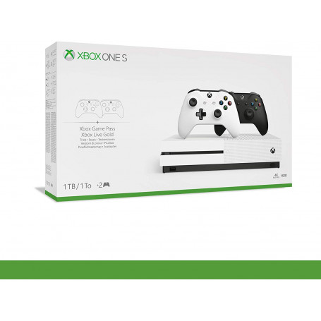 XBOX ONE S Console 1TB + 2 Game Pads (White and Black) White