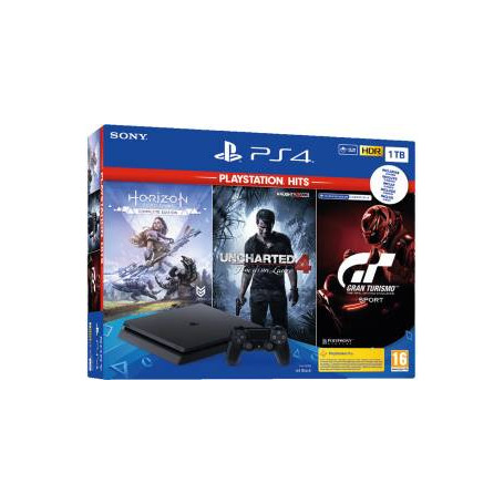PS4 Console 1TB + Uncharted 4 + Horizon Zero Dawn Complete + GT Sport (PSHits)