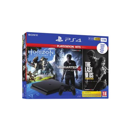 PS4 Console 1TB F + Uncharted 4 + Horizon Zero Dawn Complete + The Last Of Us (PS Hits) EU