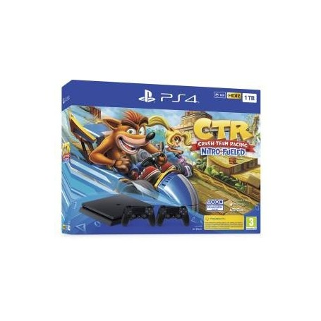 PS4 Console 1TB Black + Crash Team Racing + 2 Dualshock 4 V2